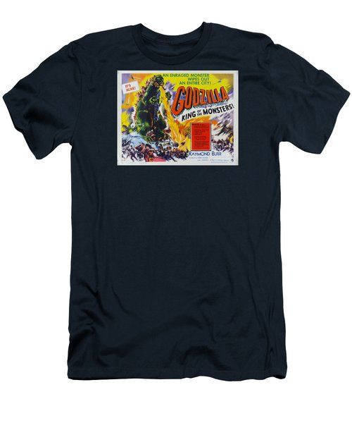 Godzilla King Of The Monsters An Enraged Monster Wipes Out An Entire City Vintage Movie Poster Men's T-Shirt (Athletic Fit)