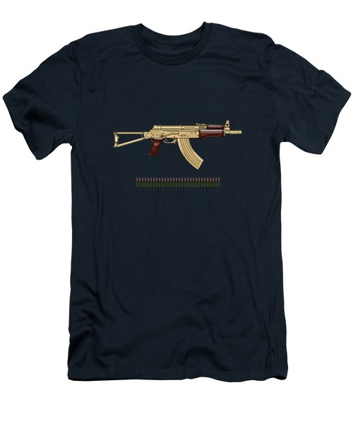 Gold A K S-74 U Assault Rifle With 5.45x39 Rounds Over Blue Velvet Men's T-Shirt (Athletic Fit)