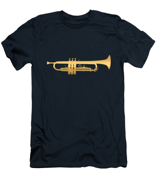 Gold Embossed Trumpet On Dark Midnight Blue Background Men's T-Shirt (Athletic Fit)