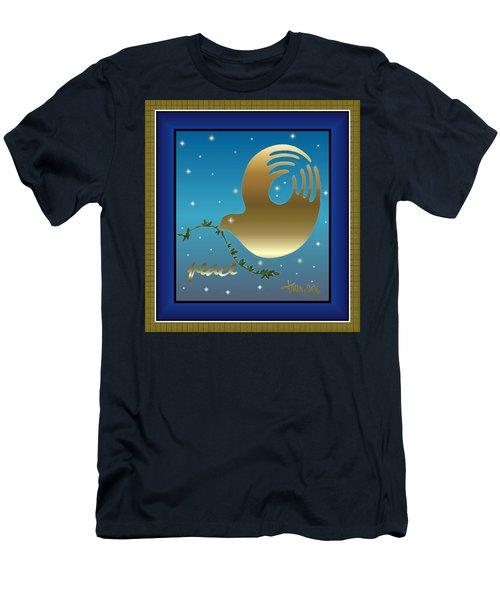 Gold Peace Dove Men's T-Shirt (Athletic Fit)