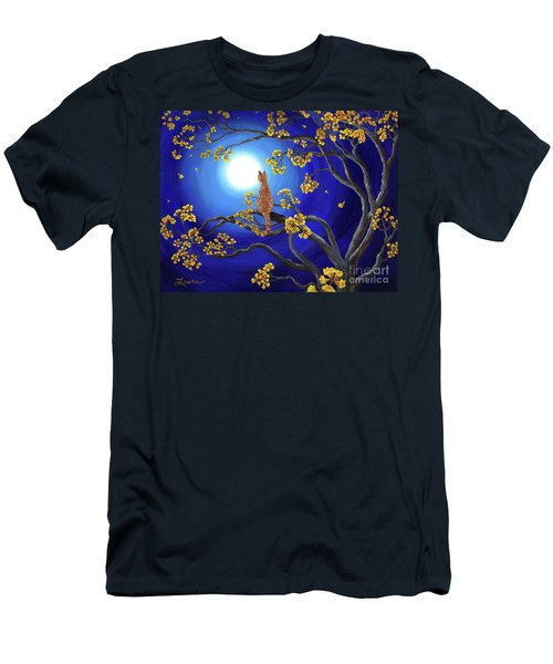 Golden Flowers In Moonlight Men's T-Shirt (Slim Fit) by Laura Iverson