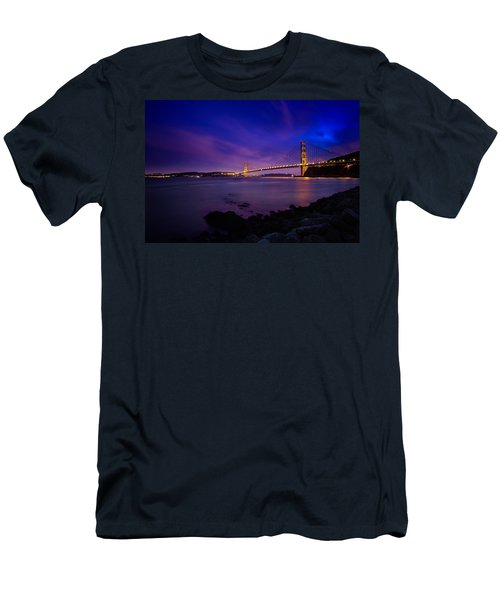 Golden Gate Bridge At Night Men's T-Shirt (Athletic Fit)
