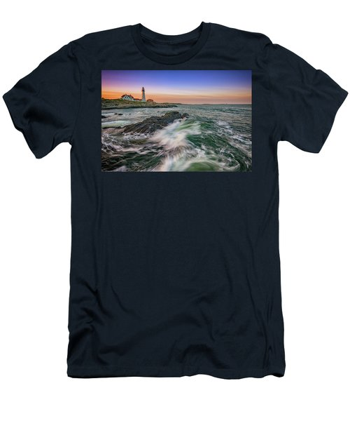 Men's T-Shirt (Athletic Fit) featuring the photograph Golden Hour At Portland Head Light by Rick Berk