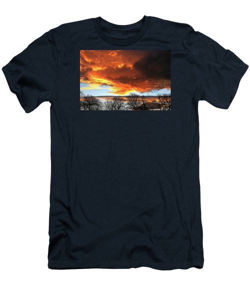 Golden Sunset With Filigree Trees Men's T-Shirt (Athletic Fit)