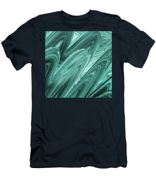 Gray Teal Waves Organic Abstract For Interior Decor Xi Men's T-Shirt (Athletic Fit)