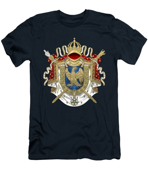 Greater Coat Of Arms Of The First French Empire Over Blue Velvet Men's T-Shirt (Athletic Fit)
