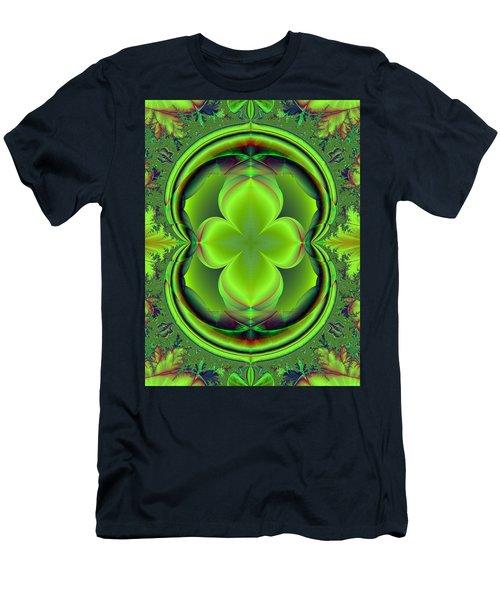 Men's T-Shirt (Slim Fit) featuring the digital art Green Clover by Svetlana Nikolova