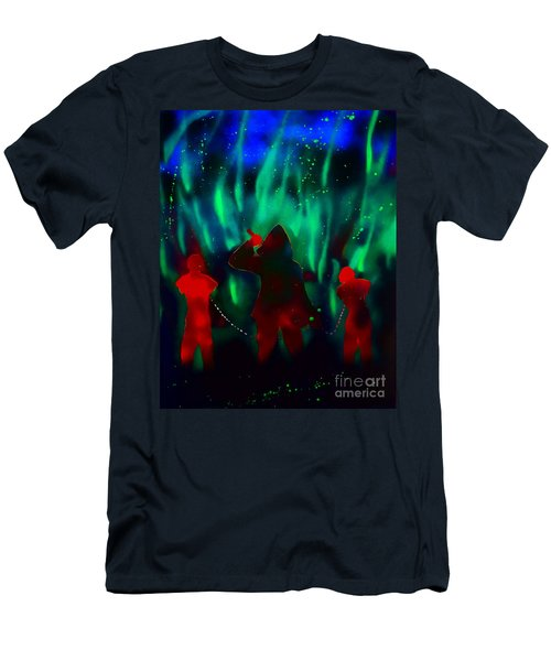 Green Flames In The Night Men's T-Shirt (Slim Fit) by Justin Moore