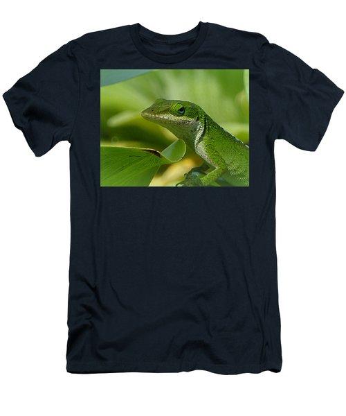 Green Gecko On Green Leaves Men's T-Shirt (Slim Fit) by Lori Seaman