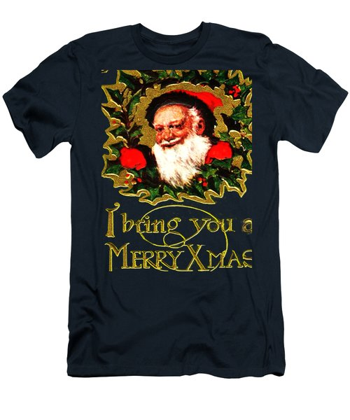 Men's T-Shirt (Slim Fit) featuring the digital art Greetings From Santa by Asok Mukhopadhyay