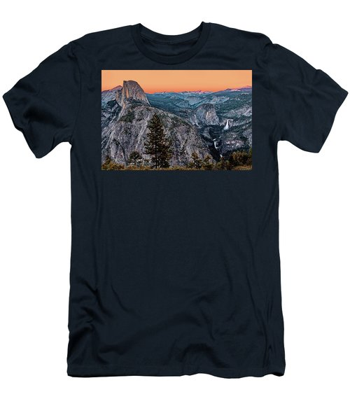 Halfdome And The Waterfalls At Sunset Men's T-Shirt (Athletic Fit)