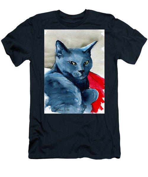 Handsome Russian Blue Cat Men's T-Shirt (Athletic Fit)