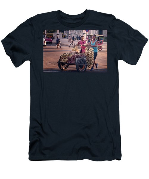 Men's T-Shirt (Slim Fit) featuring the photograph Havana Cuba Onion Cart by Joan Carroll