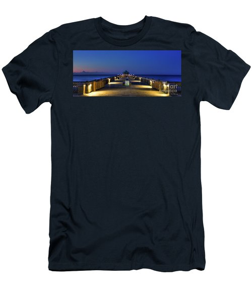 Men's T-Shirt (Slim Fit) featuring the photograph Here It Comes Now Folly Beach Pier Sunrise Art by Reid Callaway