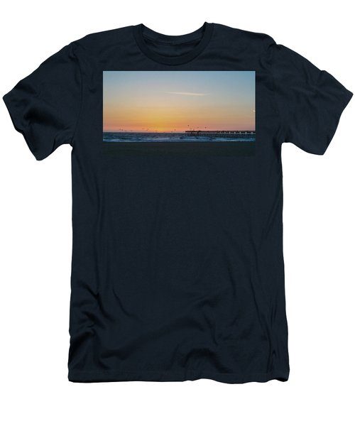 Hermosa Beach Pier At Sunset With Seagulls Men's T-Shirt (Slim Fit) by Mark Barclay