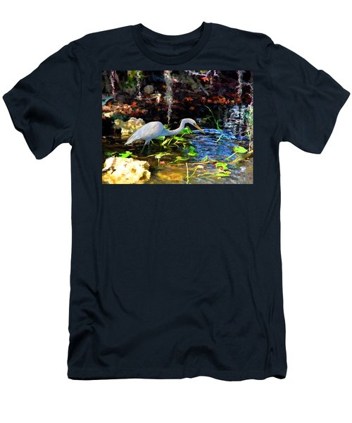 Heron In Quiet Pool Men's T-Shirt (Slim Fit) by David  Van Hulst