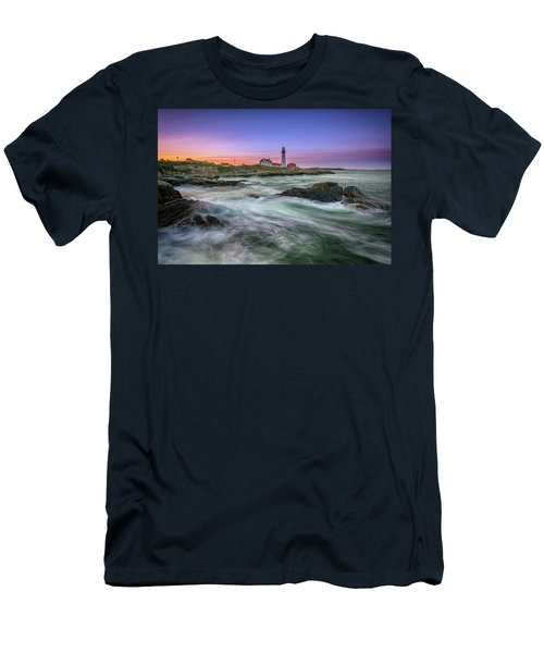 Men's T-Shirt (Athletic Fit) featuring the photograph High Tide At Portland Head Lighthouse by Rick Berk