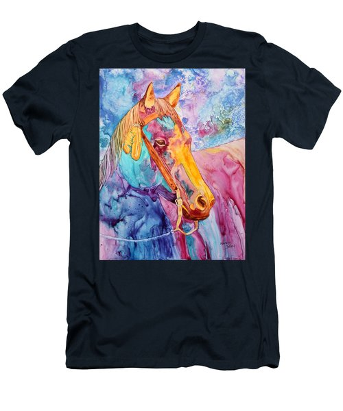 Men's T-Shirt (Slim Fit) featuring the painting Horse Of Many Colors by Nancy Jolley