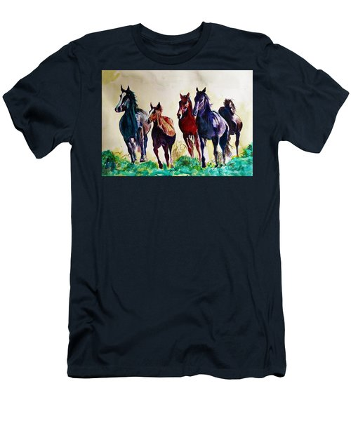 Horses In Wild Men's T-Shirt (Athletic Fit)