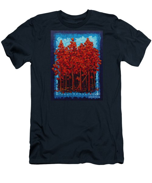 Men's T-Shirt (Slim Fit) featuring the painting Hot Reds by Holly Carmichael