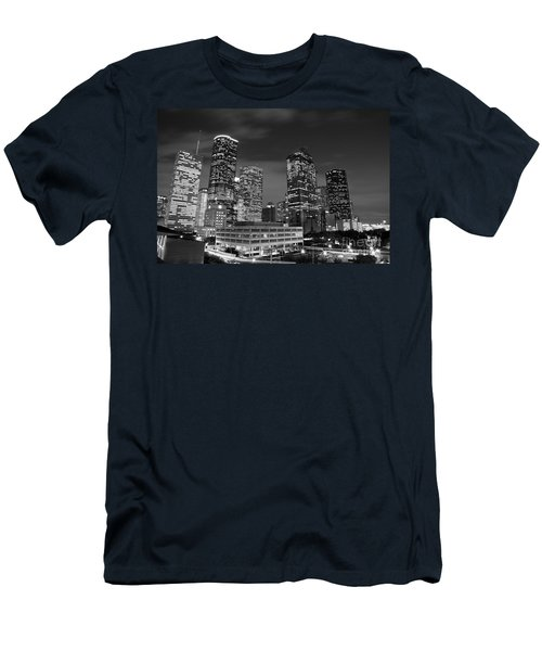 Houston By Night In Black And White Men's T-Shirt (Athletic Fit)