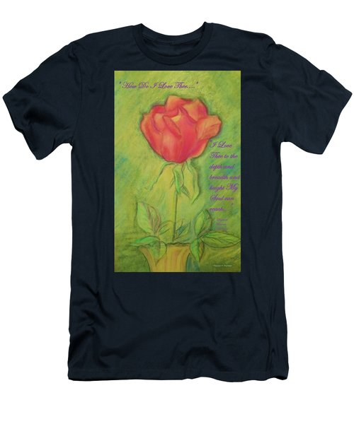 Men's T-Shirt (Slim Fit) featuring the drawing How Do I Love Thee ? by Denise Fulmer