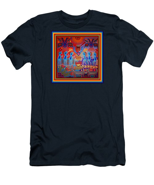 Men's T-Shirt (Athletic Fit) featuring the digital art Huichol Tribal Fire Ritual by Vagabond Folk Art - Virginia Vivier