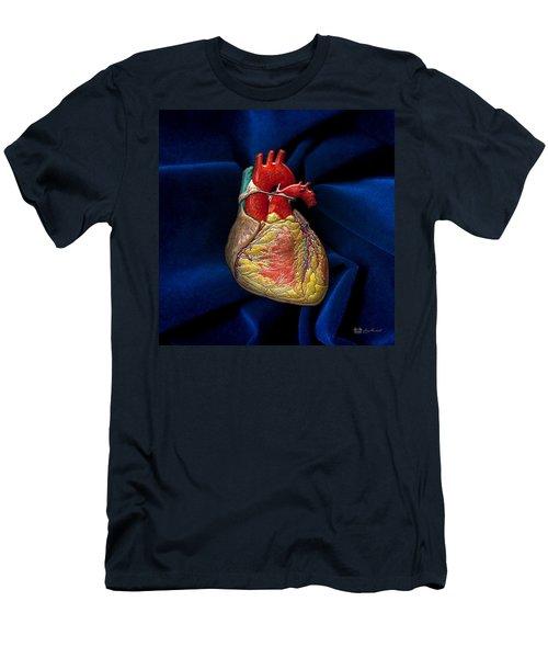 Human Heart Over Blue Velvet Men's T-Shirt (Athletic Fit)
