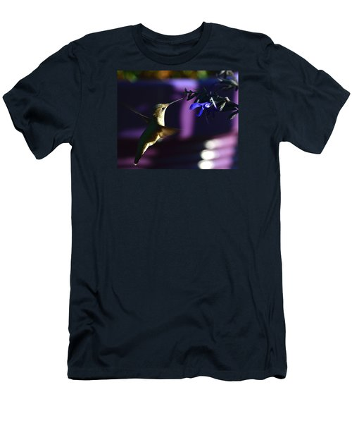 Hummingbird And Blue Flower Men's T-Shirt (Athletic Fit)