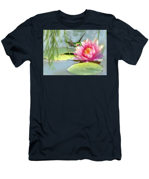 Hummingbird And Water Lily Men's T-Shirt (Athletic Fit)