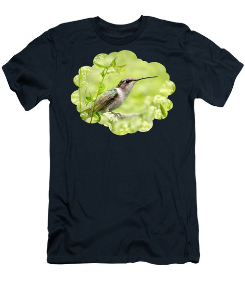 Hummingbird Hiding In Flowers Men's T-Shirt (Athletic Fit)