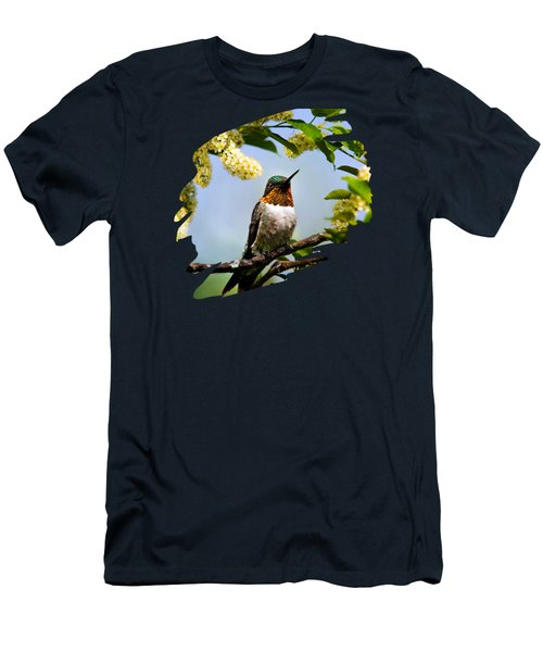 Hummingbird With Flowers Men's T-Shirt (Slim Fit) by Christina Rollo