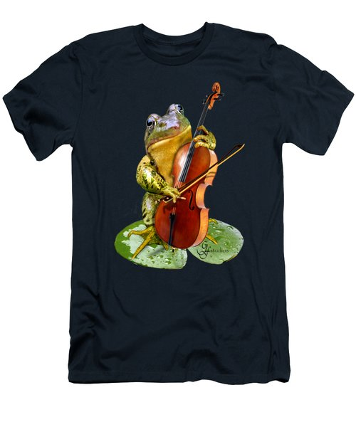 Humorous Scene Frog Playing Cello In Lily Pond Men's T-Shirt (Slim Fit) by Regina Femrite