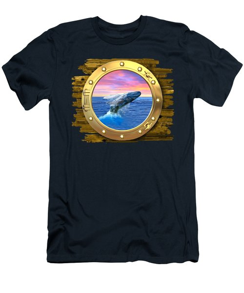 Humpback Whale Breaching At Sunset Men's T-Shirt (Slim Fit) by Glenn Holbrook