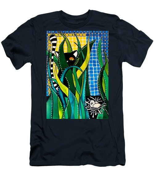 Hunter In Camouflage - Cat Art By Dora Hathazi Mendes Men's T-Shirt (Athletic Fit)