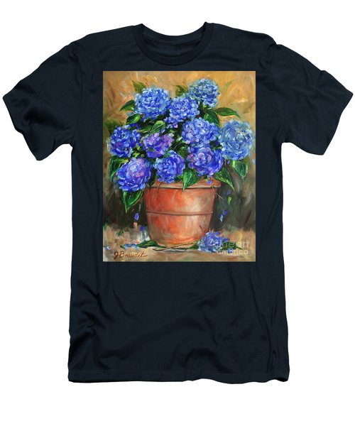 Hydrangeas In Pot Men's T-Shirt (Slim Fit) by Jennifer Beaudet