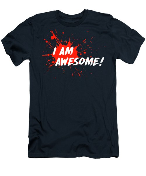 Men's T-Shirt (Slim Fit) featuring the digital art I Am Awesome by Menega Sabidussi