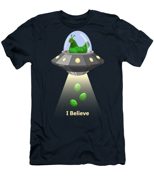 I Believe In Green Chicken Aliens Men's T-Shirt (Athletic Fit)