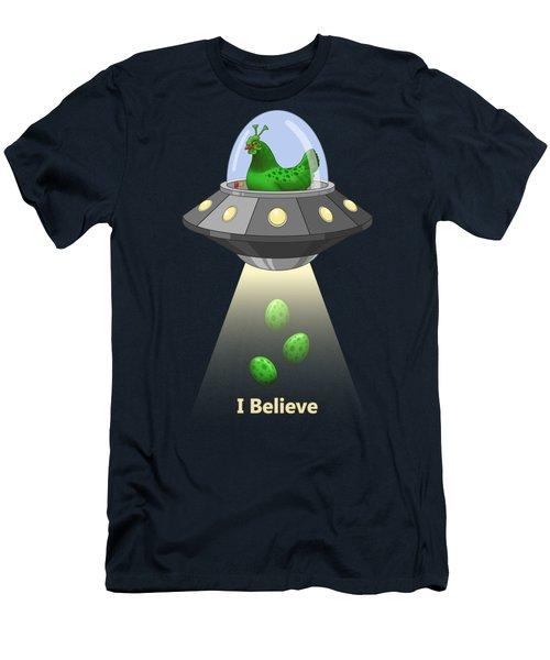 I Believe In Green Chicken Aliens Men's T-Shirt (Athletic Fit)