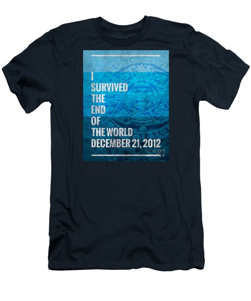 Men's T-Shirt (Slim Fit) featuring the digital art I Survived The End Of The World by Phil Perkins