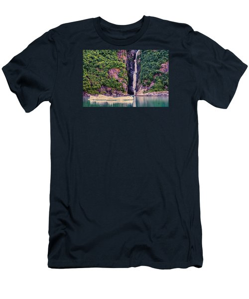 Iceberg And Waterfall Men's T-Shirt (Slim Fit) by Lewis Mann