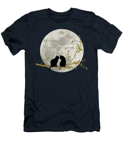 Ich Liebe Dich Bis Zum Mond Und Zuruck  Men's T-Shirt (Slim Fit) by Linda Lees