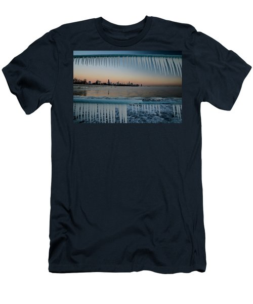 Icicles And Chicago Skyline Men's T-Shirt (Athletic Fit)