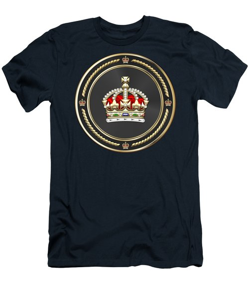 Imperial Tudor Crown Over Blue Velvet Men's T-Shirt (Athletic Fit)