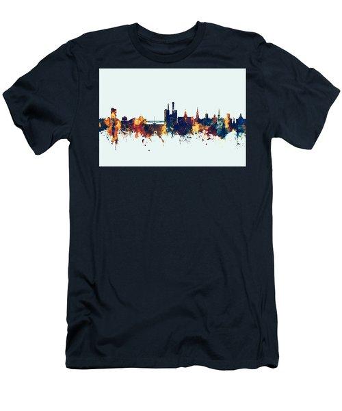 Men's T-Shirt (Slim Fit) featuring the digital art Iowa City Iowa Skyline by Michael Tompsett