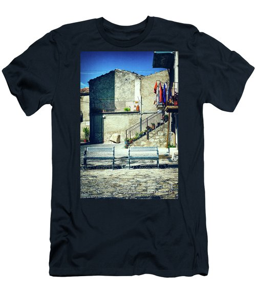 Men's T-Shirt (Athletic Fit) featuring the photograph Italian Square With Benches by Silvia Ganora