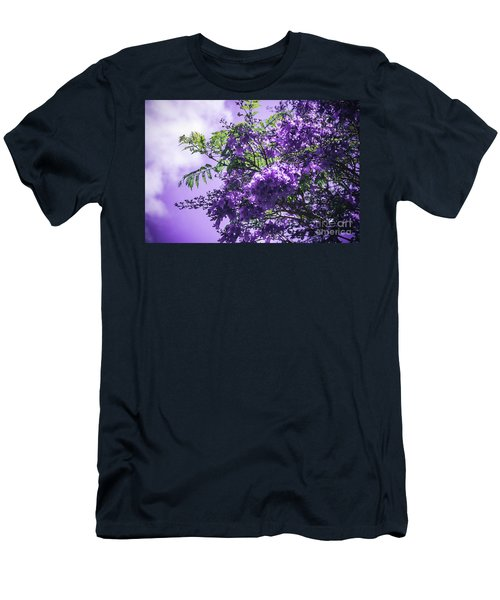Men's T-Shirt (Slim Fit) featuring the photograph Jacaranda Mimosifolia Kula Maui Hawaii by Sharon Mau