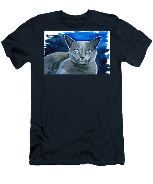 Jackpot - Russian Blue Cat Painting Men's T-Shirt (Athletic Fit)