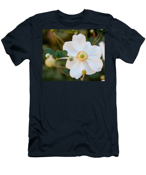 Men's T-Shirt (Slim Fit) featuring the photograph Japanese Anemone by Terri Harper