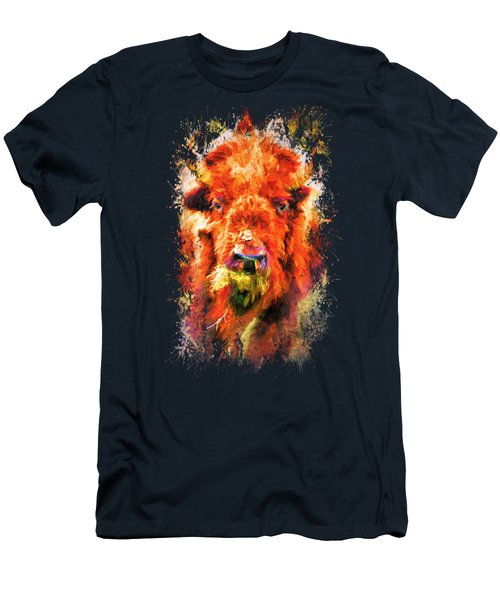Jazzy Buffalo Colorful Animal Art By Jai Johnson Men's T-Shirt (Slim Fit) by Jai Johnson